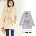 ボリュームのある襟元が、存在感バツグン♪<br>レディース 中綿ジャケットコート ダブルカラー