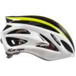 アジアンフィットのアドバンスドモデル♪<br>Karmar(カーマー) FEROX(フェロックス) ホワイト/ブラック/ライム ロードバイク ヘルメット 送料無料