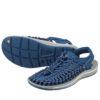 素足はもちろん、靴下と合わせたコーデもオシャレ♪<br>KEEN(キーン) メンズ UNEEK スポーツサンダル オープンエアスニーカー サンダル ディープウォーター×ホワイト 送料無料